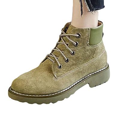 Damen-Stiefel-Outddor Kleid Lässig-Wildleder-Blockabsatz-Komfort-Schwarz Grau Armeegrün