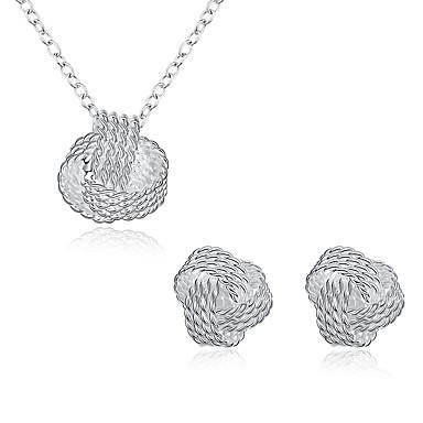 Mulheres Zircônia Cubica Conjunto de jóias - Zircônia Cubica, Prata Chapeada Incluir Prata Para Festa Diário