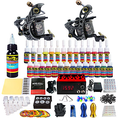 Solong Tattoo Complete Tattoo Kit 2 Pro Machines 28 Inks Power Supply Needle Grips