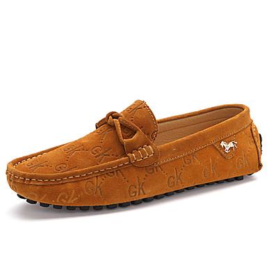 Miehet kengät Mokkanahka Kevät Kesä Syksy Talvi Comfort Mokkasiinit Kävely Käyttötarkoitus Kausaliteetti Valkoinen Musta Ruskea Sininen