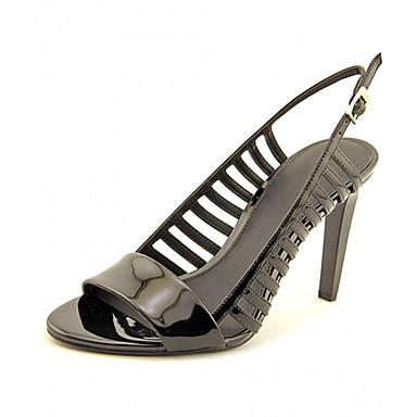 Damen Schuhe Lackleder Sommer Sandalen Stöckelabsatz Offene Spitze Schnalle Für Normal Kleid Party & Festivität Schwarz