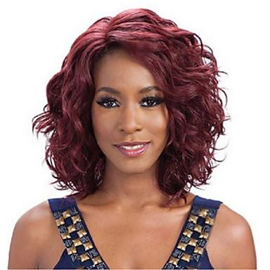 الاصطناعية الباروكات مموج شعر مستعار صناعي أحمر شعر مستعار نسائي متوسط دون غطاء النبيذ الظلام