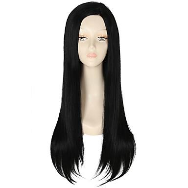 الاصطناعية الباروكات نسائي مستقيم أسود شعر مستعار صناعي شعري طبيعي أسود شعر مستعار دانتيل في الأمام أسود فحم