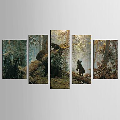 Leinwand-Set Tier Blumenmuster/Botanisch Klassisch Europäischer Stil,Fünf Panele Leinwand Jede Form Druck-Kunst Wand Dekoration For Haus