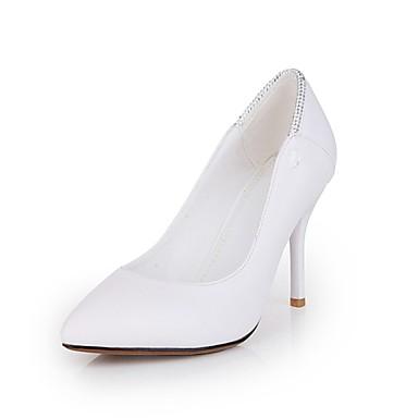 Damen Schuhe PU Frühling Sommer Herbst Komfort High Heels Stöckelabsatz Spitze Zehe Strass für Büro & Karriere Draussen Party &