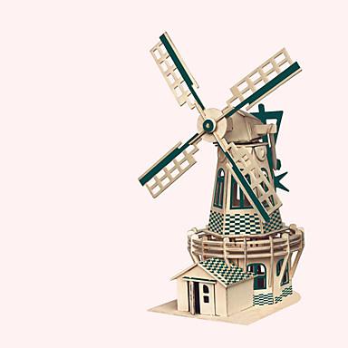 Puslespill i tre Vindmølle Vindmølle Kjent bygning Kinesisk arkitektur Hus profesjonelt nivå Tre 1pcs Barne Gutt Gave