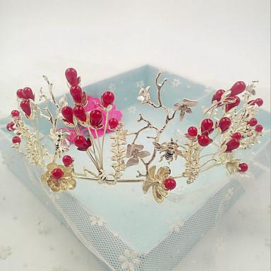 女性用 人造真珠 ラインストーン 合金 かぶと-結婚式 パーティー カジュアル ティアラ 1個
