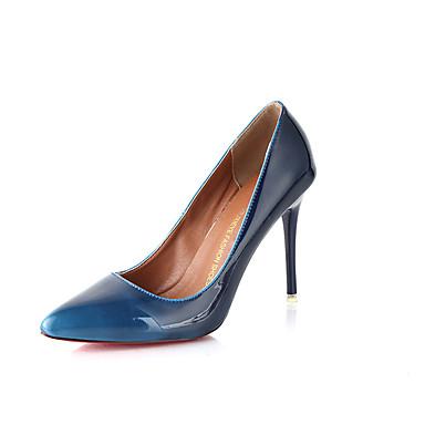 Damen Schuhe PU Frühling Sommer Komfort Slouch Stiefel High Heels Walking Stöckelabsatz Spitze Zehe für Normal Schwarz Grün Blau Hellbraun