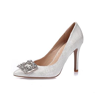 Mulheres Sapatos Gliter / Courino Primavera / Verão Saltos Salto Agulha Dedo Apontado / Dedo Fechado Pedrarias / Cristais Branco / Preto