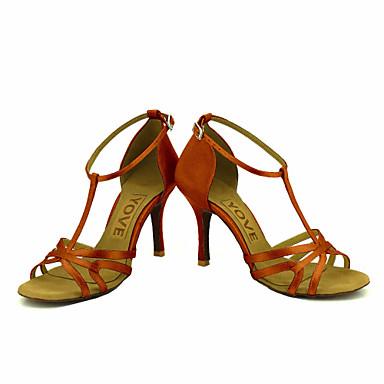 Mujer Zapatos de Baile Latino / Zapatos de Salsa Satén / Seda Sandalia / Tacones Alto Hebilla / Corbata de Lazo Tacón Personalizado Personalizables Zapatos de baile Bronce / Almendra / Nudo / Cuero