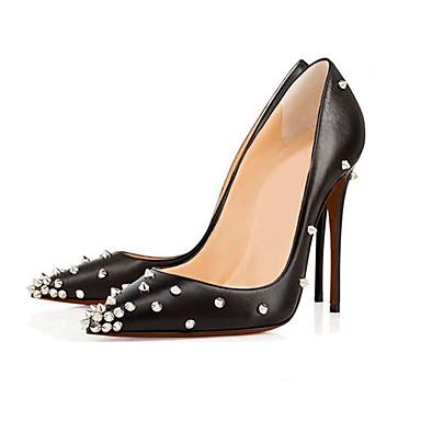 Femme Rivet Gris Eté pointu Polyuréthane Bout Noir à Chair Evénement Cuir amp; 05514642 Chaussures Soirée Talons Verni Chaussures Printemps rXfPxqrO