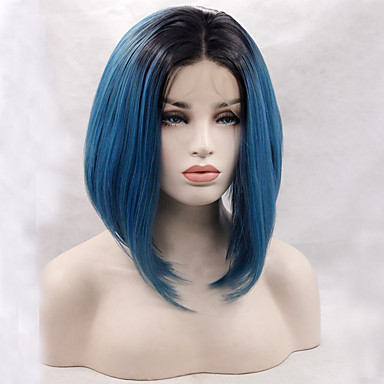 Perucas Lace Front Sintéticas Liso Corte Bob Cabelo Sintético Repartido ao Meio / Riscas Naturais Azul Peruca Mulheres Frente de Malha Azul