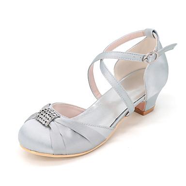 Mädchen Schuhe Seide Frühling Sommer Schuhe für das Blumenmädchen High Heels Strass Rüschen für Hochzeit Party & Festivität Silber Rot