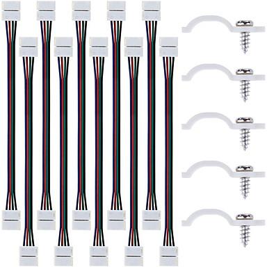 10pcs führte 5050 rgb Streifenlicht-Anschluss 4 Leiter 10 mm breit und 50 Lose Streifenlicht Montagehalterung Clips mit Schrauben für