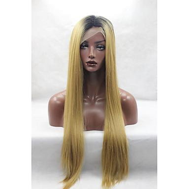 ieftine Peruci Dantelă Sintetice-Lănțișoare frontale din sintetice Drept Stil Față din Dantelă Perucă Blond Galben Păr Sintetic Pentru femei Rădăcini Închise / Linia naturală de păr / Perucă Americană Africană Blond Perucă Peruc