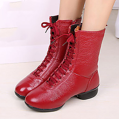 Naiset Moderni Nahka Bootsit Ulkokäyttöön Paksu korko Valkoinen Musta Punainen Ei räätälöitävissä