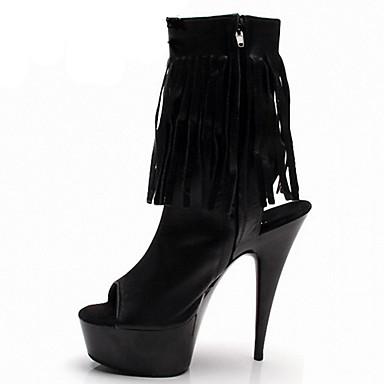 Damen-Stiefel-Outddor Kleid Party & Festivität-Lackleder-Stöckelabsatz-Komfort Neuheit Club-Schuhe Light Up Schuhe-Schwarz Weiß