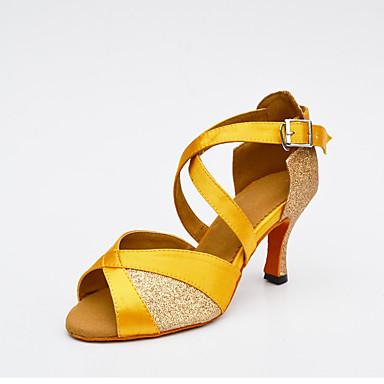Női Latin cipők Háló / Selyem / Glitter Magassarkúk Csat / Illesztés Személyre szabható Dance Shoes Fekete / Ezüst / Sárga / Otthoni