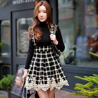 Damen Röcke,A-Linie Druck Muster Spitze Gefaltet Patchwork,Ausgehen Lässig/Alltäglich Urlaub Vintage Street Schick Punk & GothicHohe