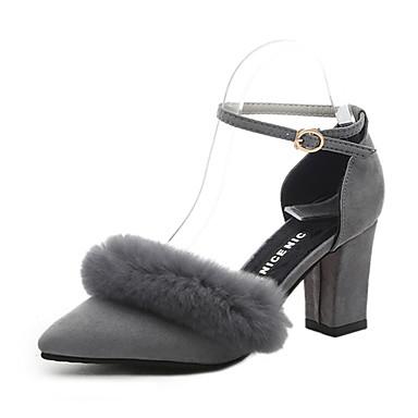 Damen-High Heels-Büro Kleid Lässig-Wildleder-Blockabsatz-Komfort-Schwarz Grau Khaki