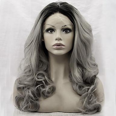 Peluca Lace Front Sintéticas Mujer Ondulado Amplio Gris Pelo sintético Entradas Naturales Gris Peluca Encaje Frontal Gris oscuro