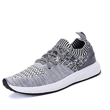 Homens sapatos Tule Primavera / Outono Conforto Tênis Caminhada Preto / Cinzento / Cinzento Escuro