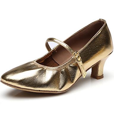 للمرأة أحذية جاز جلد كعب مشبك كعب مسطخ مخصص أحذية الرقص ذهبي / أسود / فضي / داخلي / أداء / تمرين