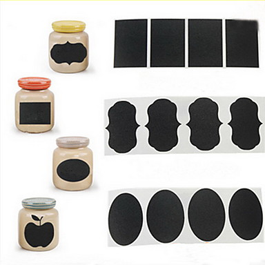 36pcs κιμωλία μαυροπίνακα στυλό ετικέτες αυτοκόλλητο βινύλιο βάζο κουζίνας χαλκομανίες διακόσμηση 5 εκατοστά x 3,5 εκατοστά