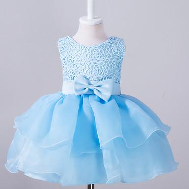 فستان بدون كم سادة ذهاب للخارج فتيات طفل صغير