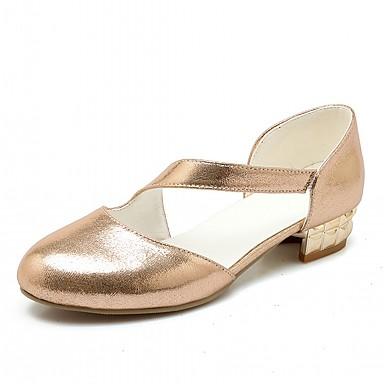 Mulheres Sapatos Courino Primavera / Outono Conforto / MaryJane Saltos Salto Robusto Ponta Redonda Presilha Dourado / Prata