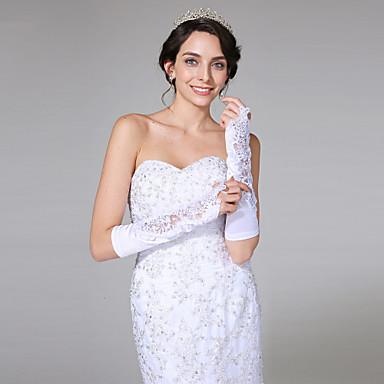 サテンの肘の長さの手袋のブライダルグローブクラシックな女性のスタイル