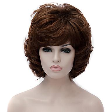 Pelucas sintéticas Recto / Ondulado Medio Corte asimétrico Pelo sintético Entradas Naturales Marrón Peluca Mujer Corta Sin Tapa