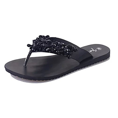 Mujer Tacones planos con tacón PU Primavera / Verano Confort Zapatillas y flip-flops Tacón Bajo Negro / Plata