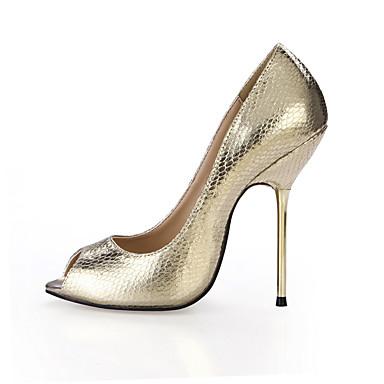 Mujer Zapatos PU Verano Confort Sandalias Tacón Stiletto Puntera abierta Blanco / Boda / Fiesta y Noche / Fiesta y Noche eGEnO