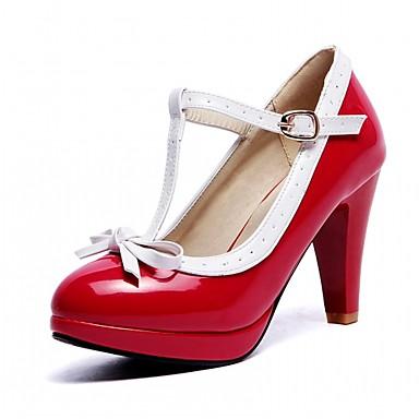 Mulheres Sapatos Courino Primavera / Outono Conforto Saltos Salto Robusto Ponta Redonda Laço / Presilha Branco / Preto / Vermelho