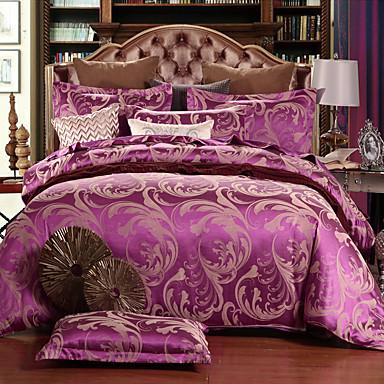 Duvet Cover Sets Floral Silk / Cotton Blend Jacquard 4 PieceBedding Sets / 500 / 4pcs (1 Duvet Cover, 1 Flat Sheet, 2 Shams)