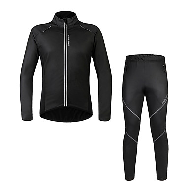 WOSAWE Manga Longa Calça com Camisa para Ciclismo - Preto Moto Conjuntos de Roupas, Prova-de-Água, Térmico/Quente, Forro de Velocino,