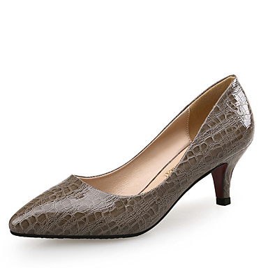 Mulheres Sapatos Couro Conforto Saltos Salto Baixo Estampa Animal Bege / Castanho Escuro / Festas & Noite / Social / Festas & Noite