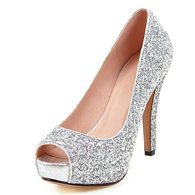 cheap Wedding Shoes-Women's Heels Club Shoes Synthetic Spring Summer Fall Winter Wedding Dress Party & Evening Club Shoes Sequin Stiletto HeelGold Black