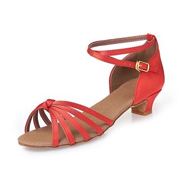 Zapatos de Baile Latino / Zapatillas de Baile / Zapatos de Baile Moderno Satén Tacones Alto Corbata de Lazo Tacón Cuadrado No / Interior