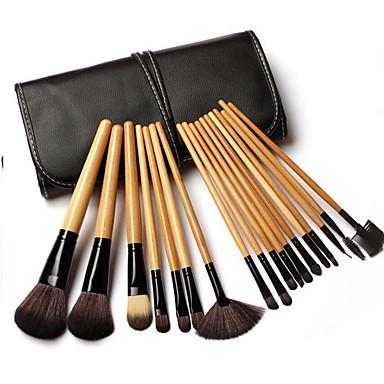 18pçs Pincéis de maquiagem Profissional Conjuntos de pincel Pêlo Sintético Profissional Madeira