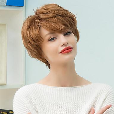 Pelo humano pelucas sin tapa Cabello humano Ondulado Natural Clásico Alta calidad Hecho a Máquina Peluca Diario