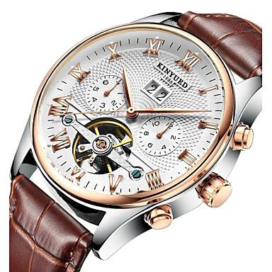 voordelige Regal Horloge-KINYUED Heren Skeleton horloge Polshorloge mechanische horloges Japans Automatisch opwindmechanisme Leer Zwart / Bruin 30 m Waterbestendig Kalender Chronograaf Analoog Luxe Klassiek Dress horloge -