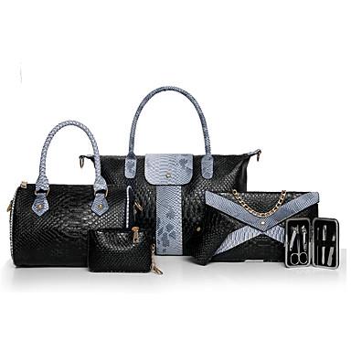 Damen Taschen Andere Lederart Bag Set 6 Stück Geldbörse Set Rüschen für Normal Ganzjährig Blau Schwarz Rote Grau