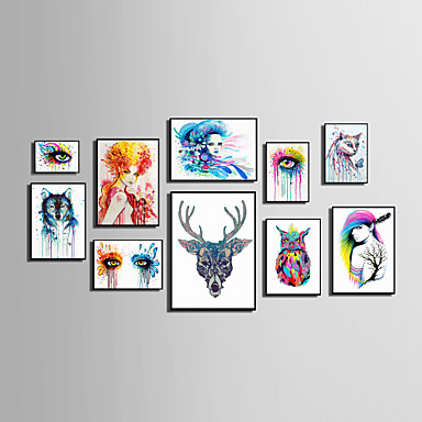 Lienzo enmarcado Conjunto enmarcado Abstracto Animales Personas Floral/Botánico Arte de la pared, PVC Material con Marco Decoración