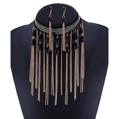 Mujer Cristal / Circonita Conjunto de joyas - Borla Incluir Dorado / Negro Para Diario