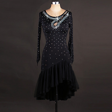 الرقص اللاتيني الفساتين للمرأة أداء سباندكس / أورجنزا كريستال / أحجار الراين كم طويل فستان