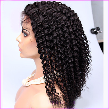 Human Hair Full Lace Lace Front Wig Kinky Curly Afro Density 100% Hand Tied African American Wig Natural Hairline Medium Long Women's