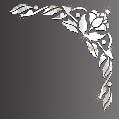 Spejle Mote Blomster Veggklistremerker 3D Mur Klistremerker Veggklistremerker i Speilstil Dekorative Mur Klistermærker, Glass Hjem Dekor