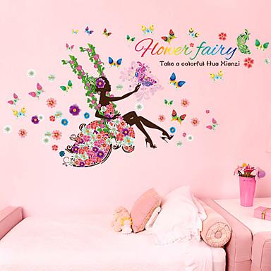 Calcomanías Decorativas de Pared - Pegatinas de pared de personas Personas / De moda / Florales Sala de estar / Dormitorio / Comedor